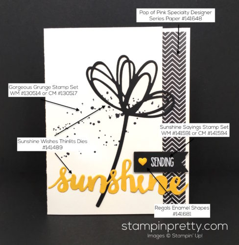 Stampin Up Sunshine Wishes & Sunshine Sayings Card - Mary Fish StampinUp Supply List