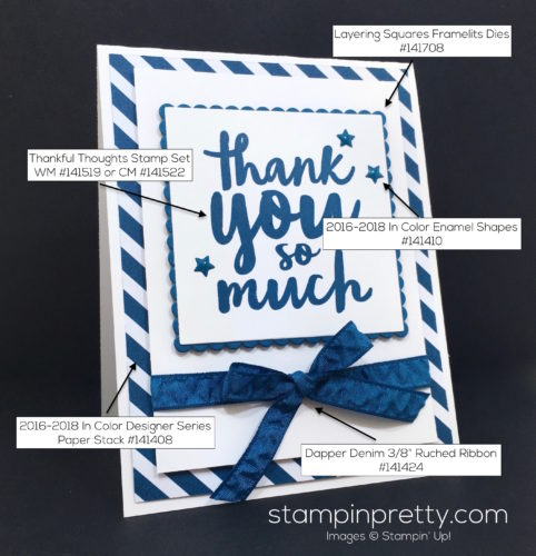 Stampin Up Thankful Thoughts Thank You Card Idea - Mary Fish StampinUp Supply List