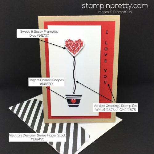 Stampin Up Vertical Greetings Love Card & Envelope - Mary Fish StampinUp Supply List