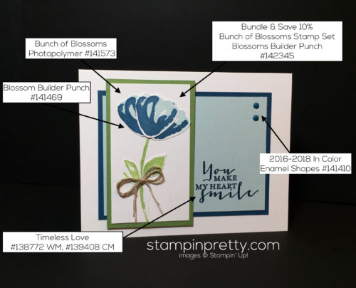 Stampin Up, Bunch of Blossoms Bundle, Friendship card idea-Mary Fish, stampinup