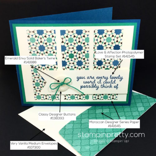 Stampin Up Love & Affection Moroccan Thank You Card - Mary Fish StampinUp Supply List