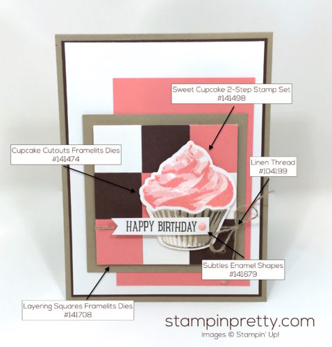 Stampin Up Sweet Cupcakes Cutouts Framelits Birthday Cards Idea - Mary Fish StampinUp