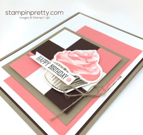 Stampin Up Sweet Cupcakes Cutouts Framelits Birthdays Card Idea - Mary Fish StampinUp