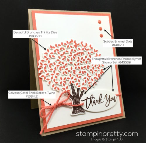 Stampin' Up! Thoughtful Branches Thank You Card Idea - Mary Fish StampinUp Supply List
