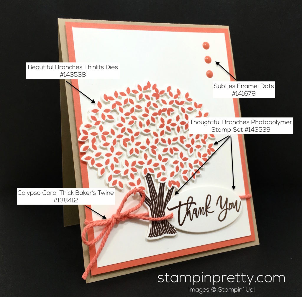 Beautiful branches thank you card idea stampin 39 pretty for Mary fish stampin up