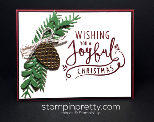 Stampin Up Christmas Pines Wonderful Year Christmas card idea - Mary Fish Stampinup