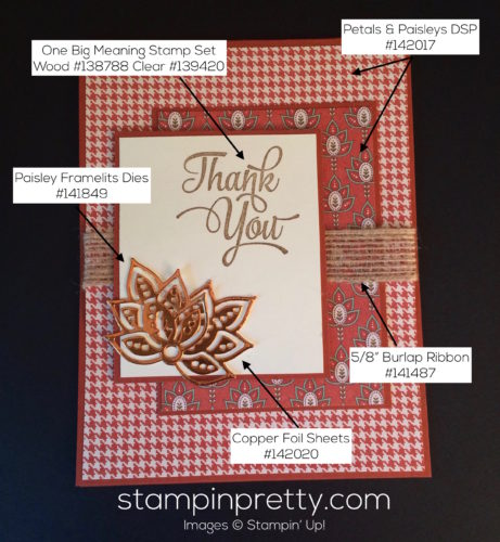 Stampin Up Petals and Paisleys thank you card idea - Mary Fish stampinup