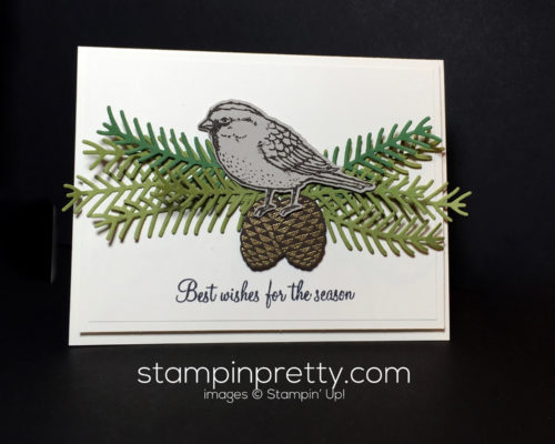 Stampin Up Pretty Pines Thinlits Holiday card ideas - Mary Fish Stampinup