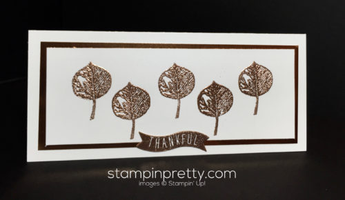 Stampin Up Vintage Leaves Copper Emboss Powder Holiday card idea - Mary Fish Stampinup