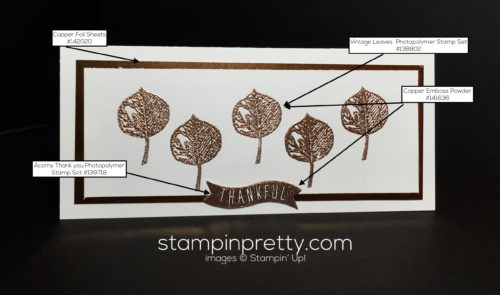 Stampin Up Vintage Leaves Holiday Card idea - Mary Fish Stampinup