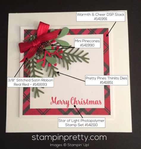 Stampin Up Pretty Pines Holiday Card idea - Mary Fish stampinup