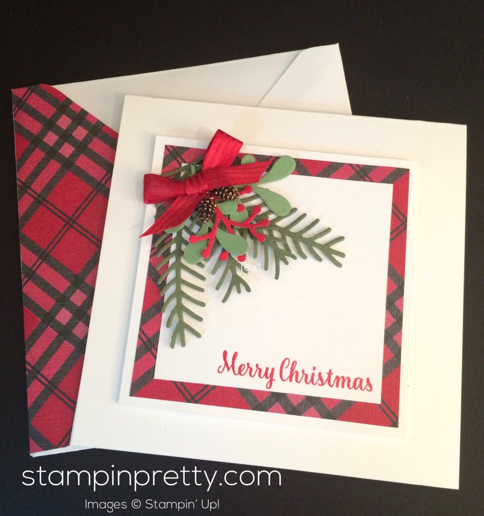 simple pretty pines holiday card idea stampin 39 pretty. Black Bedroom Furniture Sets. Home Design Ideas