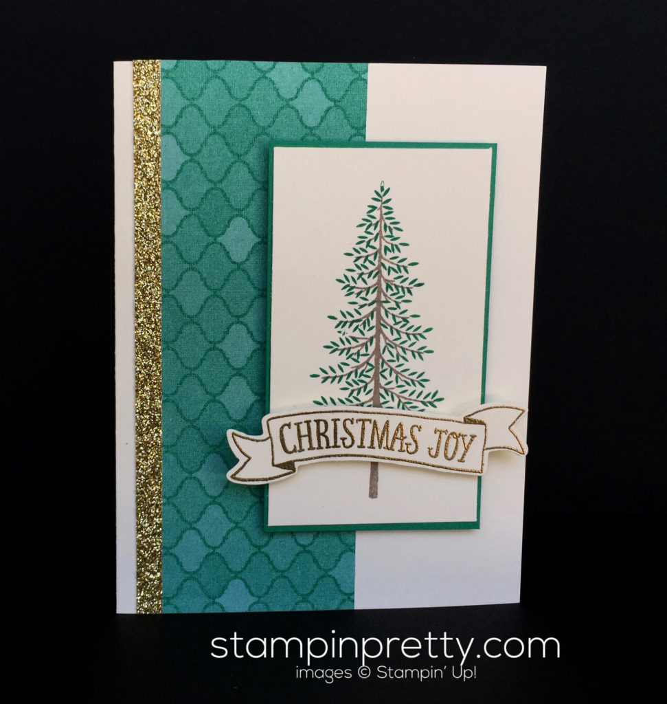 simple evergreen christmas card stampin pretty