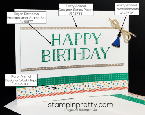 Stampin Up Big on Birthdays Party Animal Embellishments Birthday cards Mary Fish Stampinup SUjpg copy