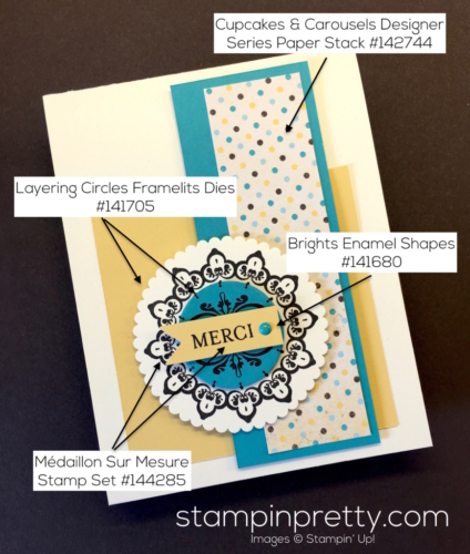 Stampin Up Sale-A-Bration Medaillon Sur Mesure Make a Medallions Thank You Card Idea - Mary Fish stampinup