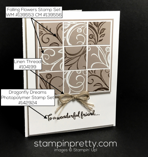 Stampin Up Falling Flowers Dragonfly Dreams Monochromatic card Mary Fish Stampinup