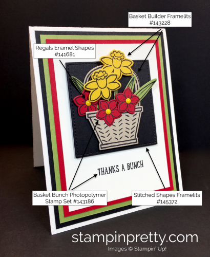 Stampin Up Basket Builder Bunch Spring Thank You Card Ideas - By Mary Fish StampinUp Supply List