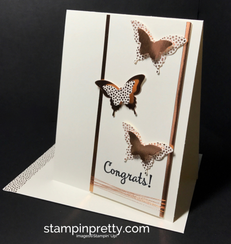Stampin Up Bitty Butterfly Elegant Butterfly Copper Foil Happy Happenings Congrats card Mary Fish Stampinup