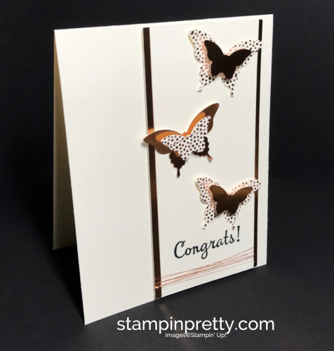 Stampin Up Bitty Butterfly Elegant Butterfly Copper Foil Happy Happenings Congrats card ideas Mary Fish Stampinup