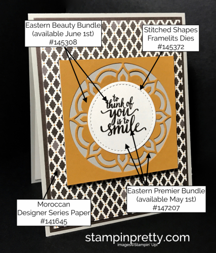 Stampin Up Eastern Premier Bundle Moroccan DSP Stitched Framelits Mary Fish Stampinup