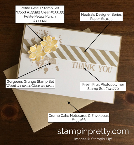 Stampin Up Petite Petals thank you cards ideas - Mary Fish stampinup