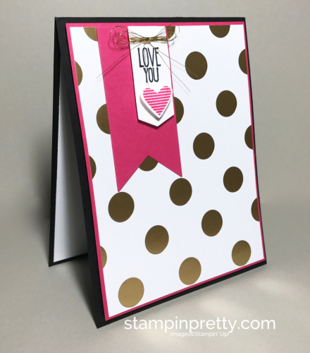 Stampin Up Pop of Pink DSP Sealed with Love Love card Mary Fish Stampinup