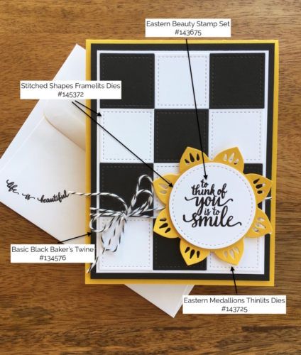 Stampin Up Eastern Medallions and Eastern Beauty Stamp Set Friendship Card Idea - Mary Fish StampinUp Supply List