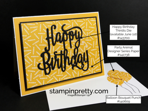Stampin Up Happy Birthday Thinlits Die Balloon Bouquet Punch Party Animal DSP Birthday card ideas Mary Fish Stampinup
