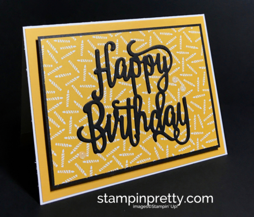 Stampin Up Party Animal DSP Happy Birthday Thinlits Die Birthday card idea Mary Fish Stampinup