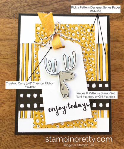 Stampin Up Pieces & Patterns Birthday Cards Idea - Mary Fish StampinUp Supply List