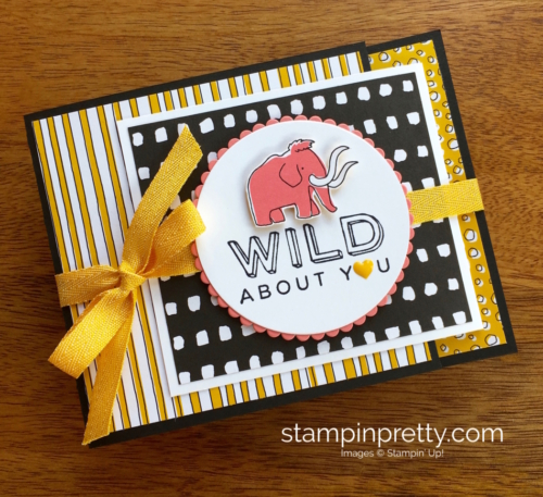 Stampin Up! Pieces & Patterns Dinosaur Juvenile Birthday Card Idea - Mary Fish StampinUp