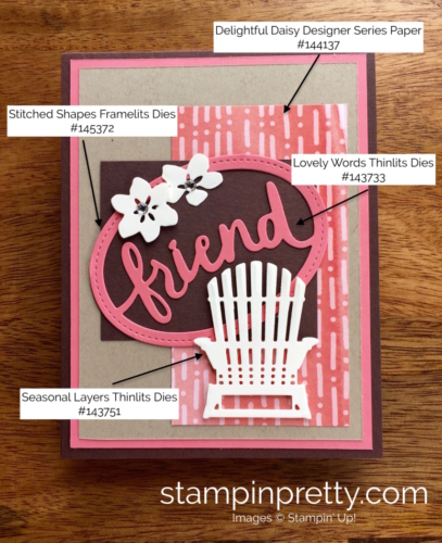 Stampin Up Seasonal Layers & Lovely Layers Thinlits Dies Friend Card Idea - Mary Fish StampinUp supply list