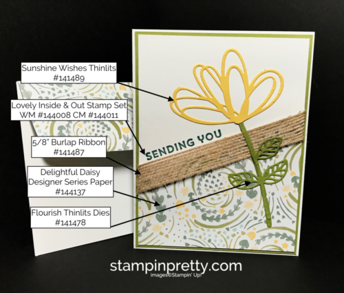 Stampin Up Sunshine Wishes Delightful Daisy DSP Just Because card idea Mary Fish Stampinup