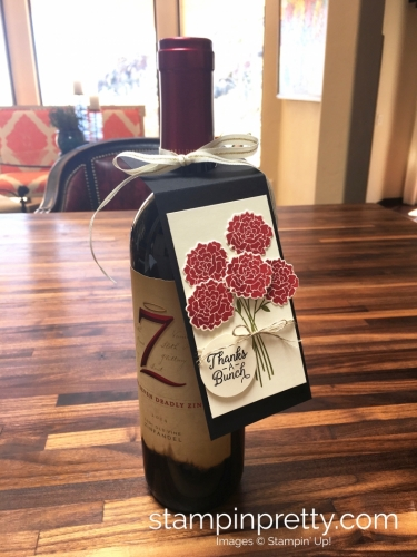 Stampin Up Beautiful Bouquet Bunch Thank You Wine Tag Idea - Mary Fish StampinUp