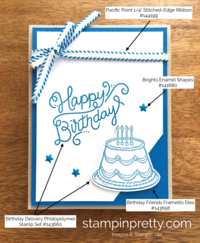 Stampin Up Birthday Delivery Birthday Card Idea - Mary Fish StampinUp Supply List