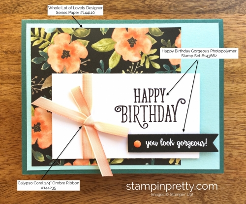 Stampin Up Happy Birthday Gorgeous Cards Idea - Mary Fish StampinUp supply list