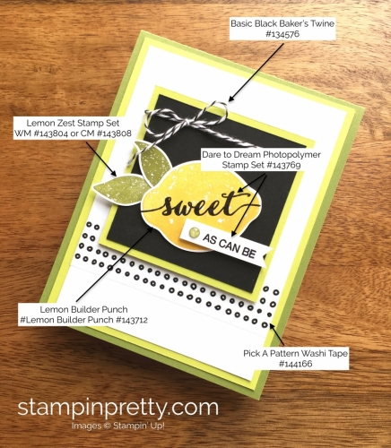Stampin Up Lemon Zest Thank You Card Idea - Mary Fish StampinUp Supply List