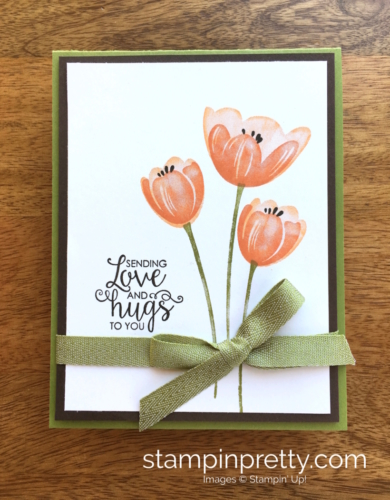 Stampin Up Tranquil Tulips Ribbon of Courage Love Card Idea - Mary Fish Stampin' Up!
