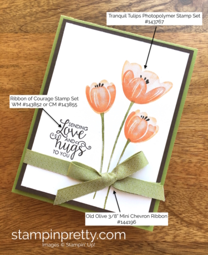 Stampin Up Tranquil Tulips Ribbon of Courage Love Card Ideas - Mary Fish Stampin' Up!