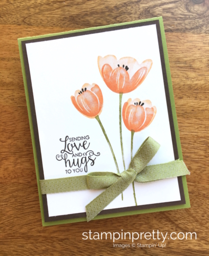 Stampin Up Tranquil Tulips Ribbon of Courage Love Cards Idea - Mary Fish Stampin' Up!