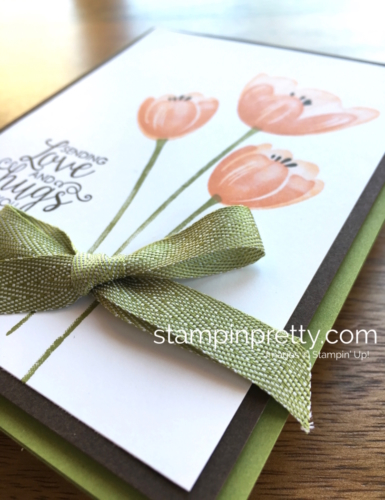 Stampin Up Tranquil Tulips Ribbon of Courage Love Cards Ideas - Mary Fish Stampin' Up!