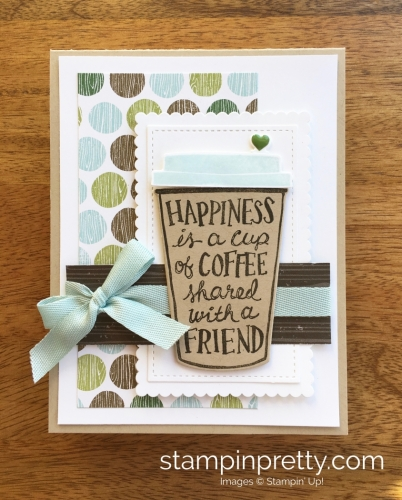 Stampin Up Coffee Cafe Coffee Cup Framelits Dies Friend Card Idea - Mary Fish StampinUp