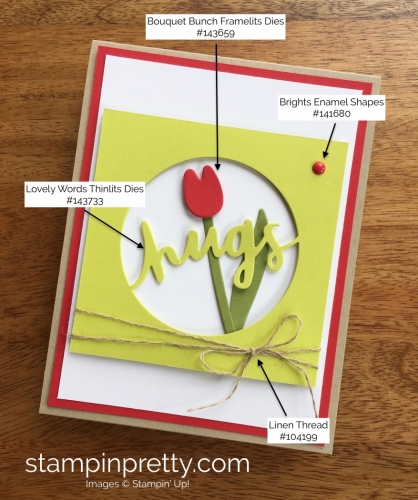 Stampin Up Lovely Words Hugs Love Card Idea - Mary Fish StampinUp