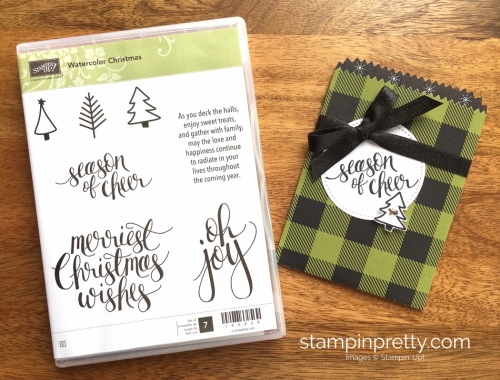 Stampin Up Watercolor Christmas Mini Treat Bag Gifts Ideas - Mary Fish StampinUp