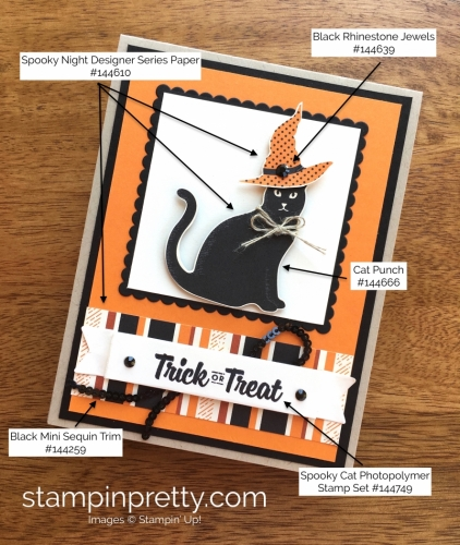 Stampin Up Cat Punch Halloween Cards Idea - Mary Fish StampinUp Supply List