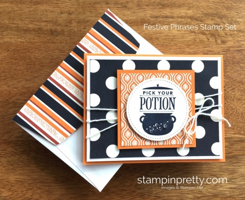 Stampin Up Festive Phrases Halloween Card Idea - Mary Fish StampinUp