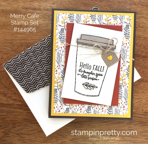 Stampin Up Merry Cafe Coffee Cups Framelits Dies Fall Card Idea - Mary Fish StampinUp