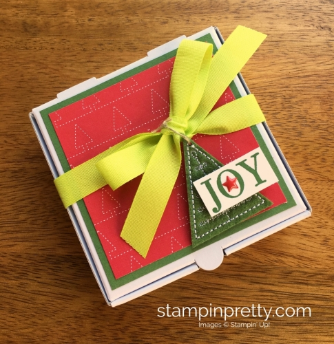 Stampin Up Mini Pizza Box Holiday Christmas Gift Idea - Mary Fish StampinUp