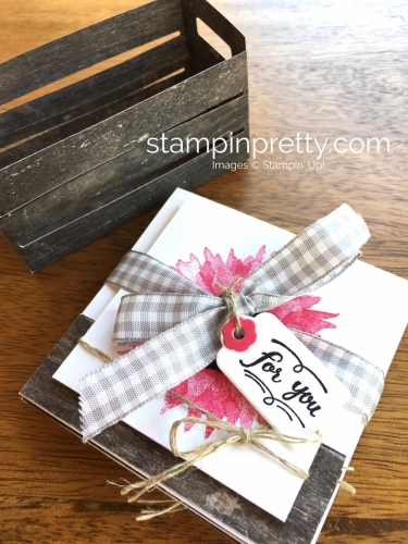 Stampin Up Painted Harvest 3 x 3 Note Cards in Wood Crate Die Idea - Mary Fish StampinUp