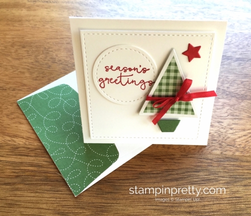 Stampin Up Stitched Shapes Framelits Dies 3 x 3 Holiday Card Ideas Green - Mary Fish StampinUp